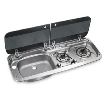 DOMETIC HSG 2370 L TWO-BURNER HOB AND SINK COMBINATION WITH GLASS LID, 900 X 370 MM